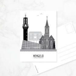 Postkaart stad zwart-wit
