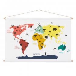 Kinder wereldkaart schoolplaat