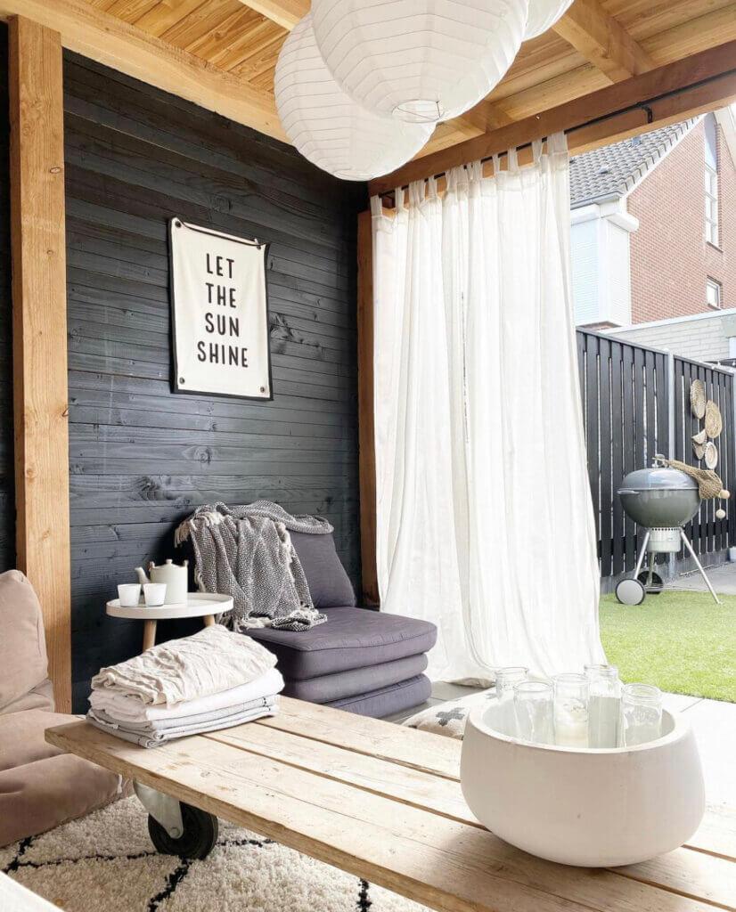 tuinkamer veranda overkapping styling inrichting gordijnen