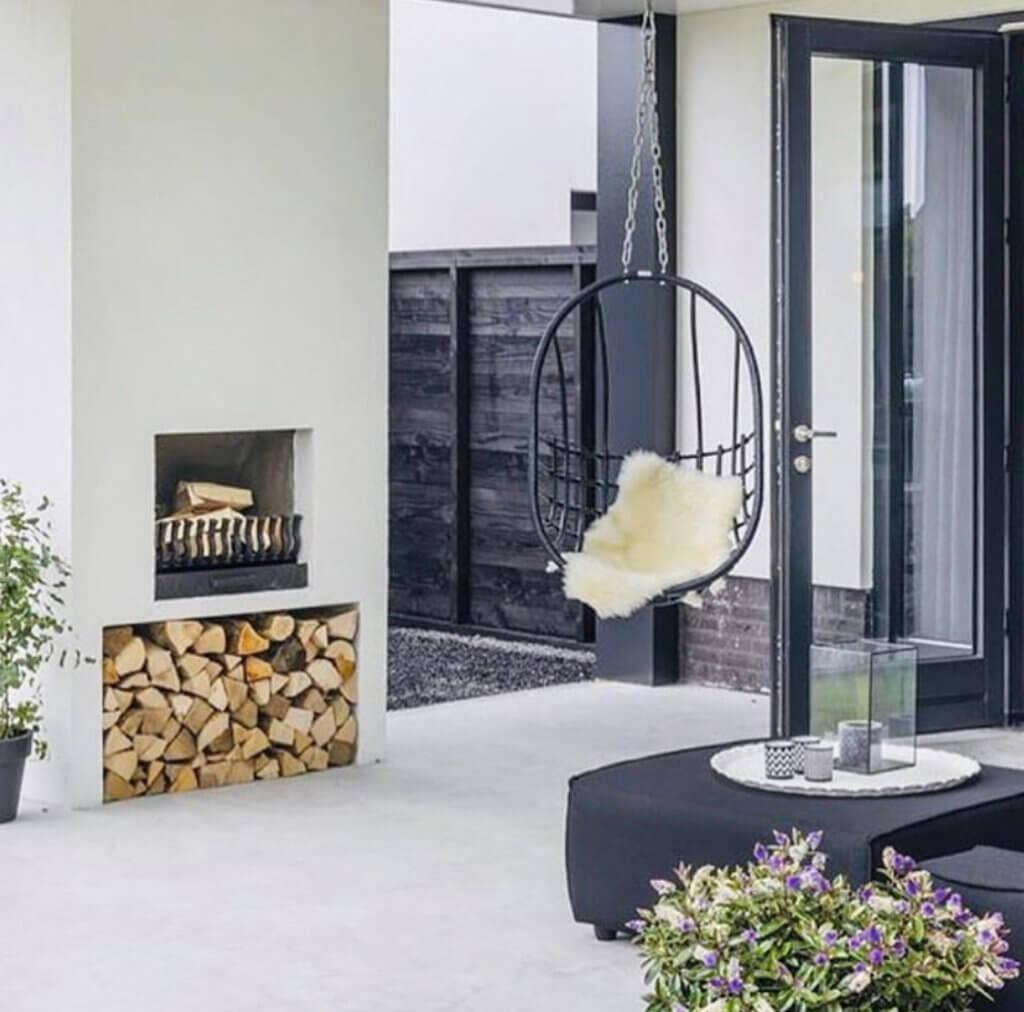 tuinkamer veranda overkapping styling inrichting haard